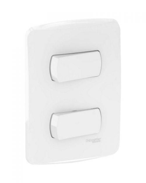 2 interruptor sencillo con placa 15A 127 Vca. Blanco