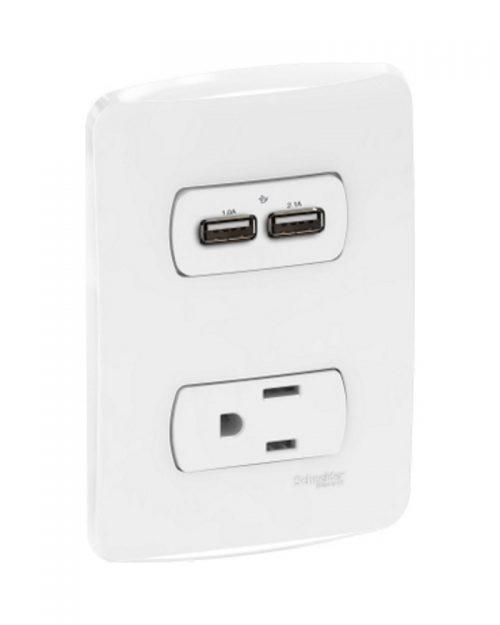 Cargador USB 2.0 2.1 A + toma de corriente 2P+T con placa 15A 127 Vca. Blanco