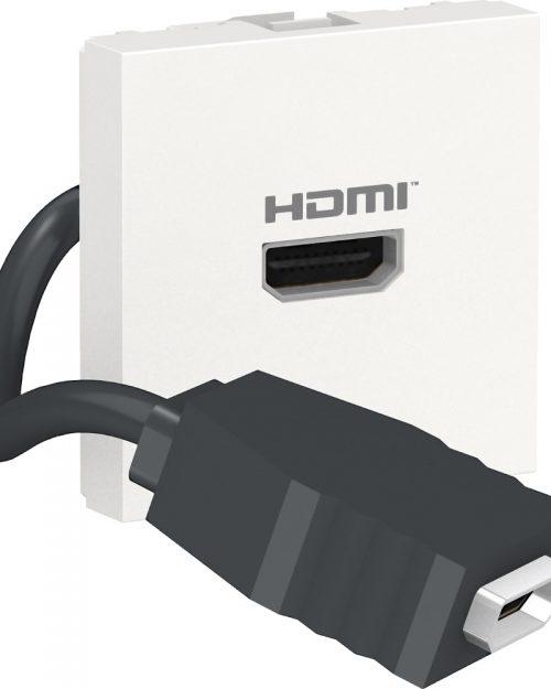 Conector HDMI precableado. Blanco