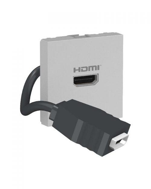 Conector HDMI precableado. Aluminio
