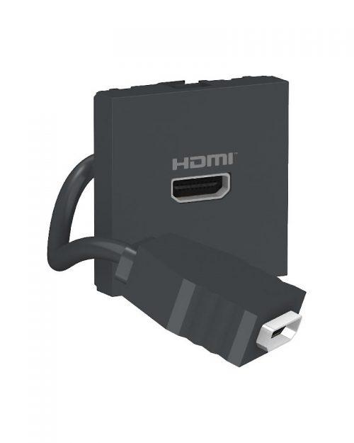 Conector HDMI precableado. Grafito