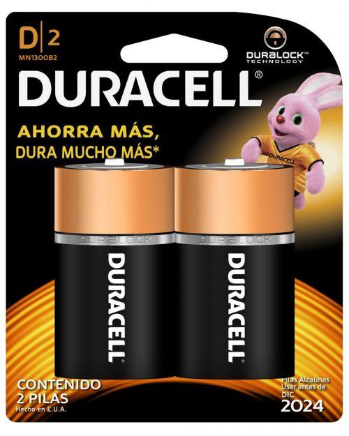 "PILA ALCALINA TAMAÑO ""D"" BLISTER CON 2 PZAS MCA DURACEL"