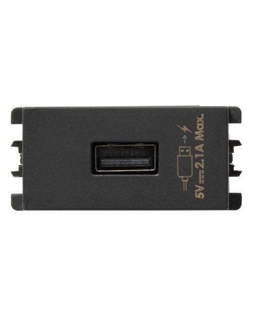 CARGADOR USB 1 MOD GRAFITO S26 | Simon 26 | CODIGO 2601097-038
