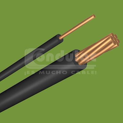 CABLE CON AISLAMIENTO TIPO THW 1/0 AWG, 90° 600V. COLOR NEGRO MCA. CONDULAC
