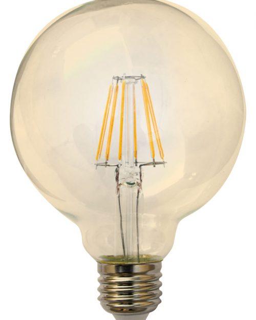 LAMPARA DE LEDS DIMEABLE 6W TIPO G95 BLANCO CALIDO 2700K IPSA