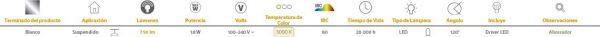 Lira | INTERIOR SUSPENDIDOS LED18W100-240V3000K | Tecnolite