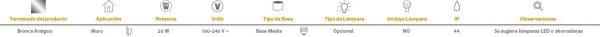 Ronda | EXTERIOR MURO S/L100-240VE27 | Tecnolite