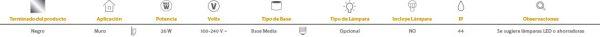 Siena | EXTERIOR MURO S/L100-240VE27 | Tecnolite
