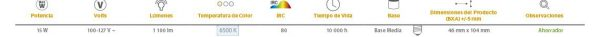 LAMP FLUOR ESPIRALES  15W6500KE271100LM