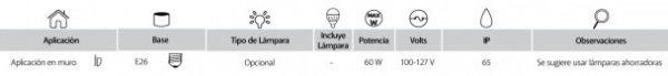 Talin | EXTERIOR MURO S/L100-240VE27 | Tecnolite