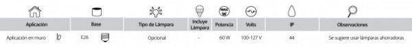 Urbino | EXTERIOR MURO S/L100-240VE27 | Tecnolite